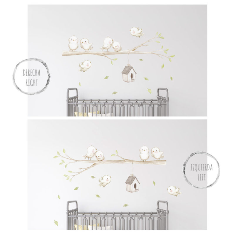 Birds on branch fabric wall decal Green