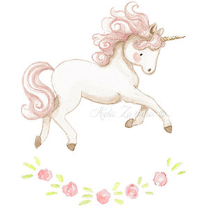 Children illustration pink unicorn