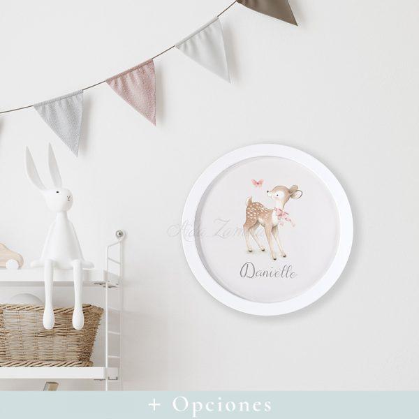 Cuadro Infantil Redondo Bambi