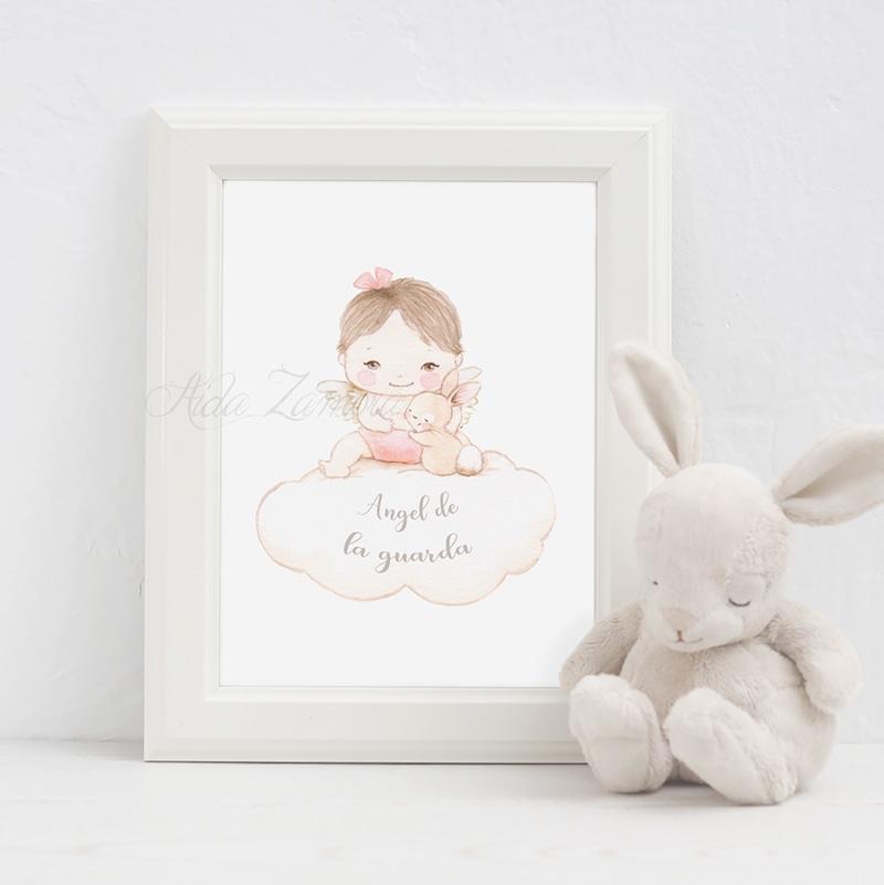 Cuadro infantil Angel de la Guarda niña