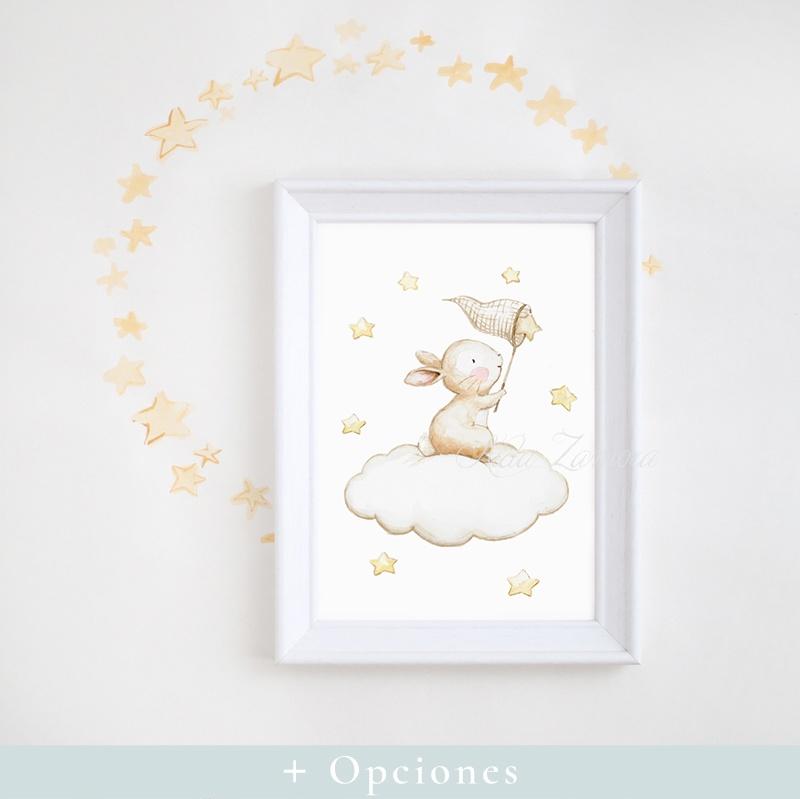 Cuadro infantil Conejito atrapando Estrellas