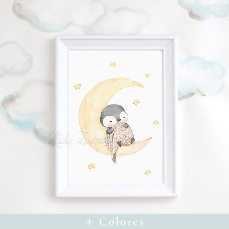 Cuadro infantil Pingüino en la Luna