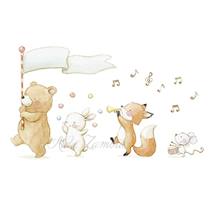 "Illustration infantil ""Banda con oso"""