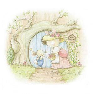 Ilustración para cuentos infantiles conejos en puerta