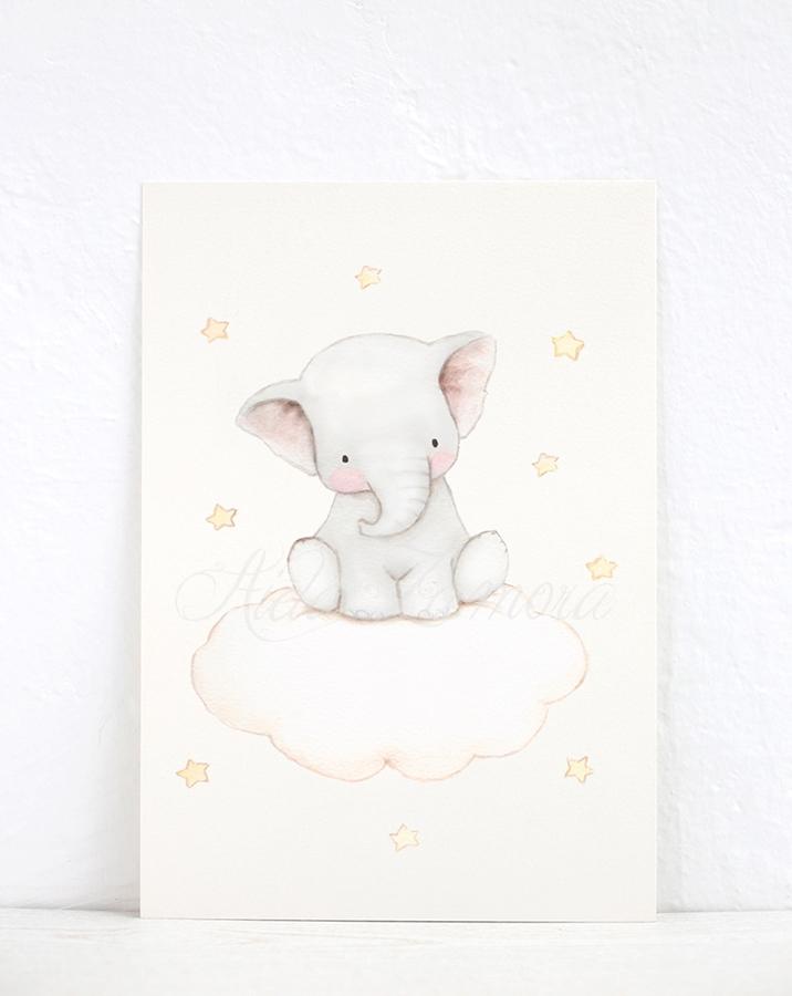 Lámina infantil Amigos en las Nubes Elefantito