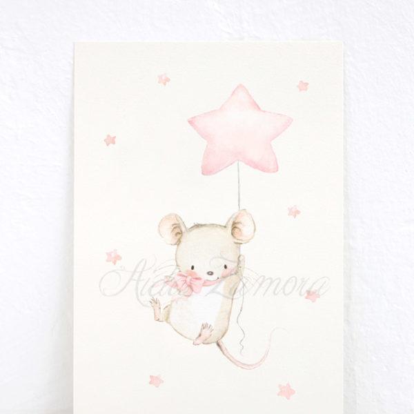 Lámina infantil Animales en las Estrellas Ratoncito