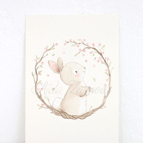 Lámina infantil Conejita y Flores de Almendro