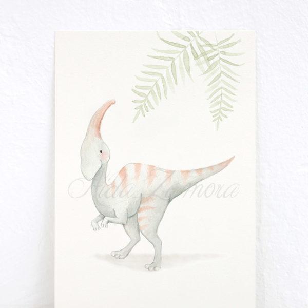 Lámina infantil Dinosaurio Parasaurolophus