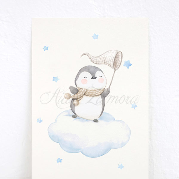 Lámina infantil Pingüino cazando Estrellas Azul