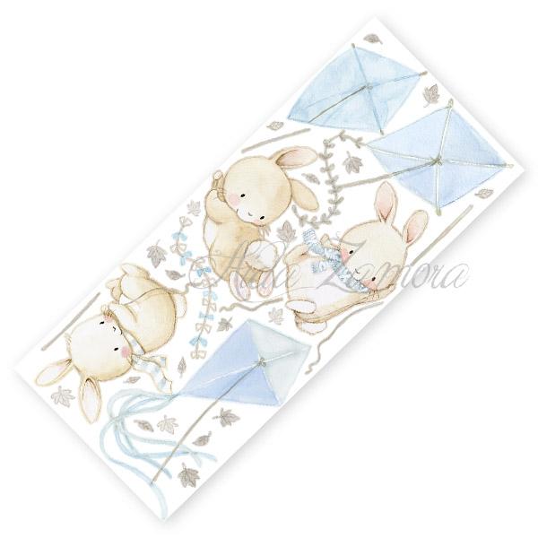 Lamina de vinilo infantil de tela Conejitos con Cometas