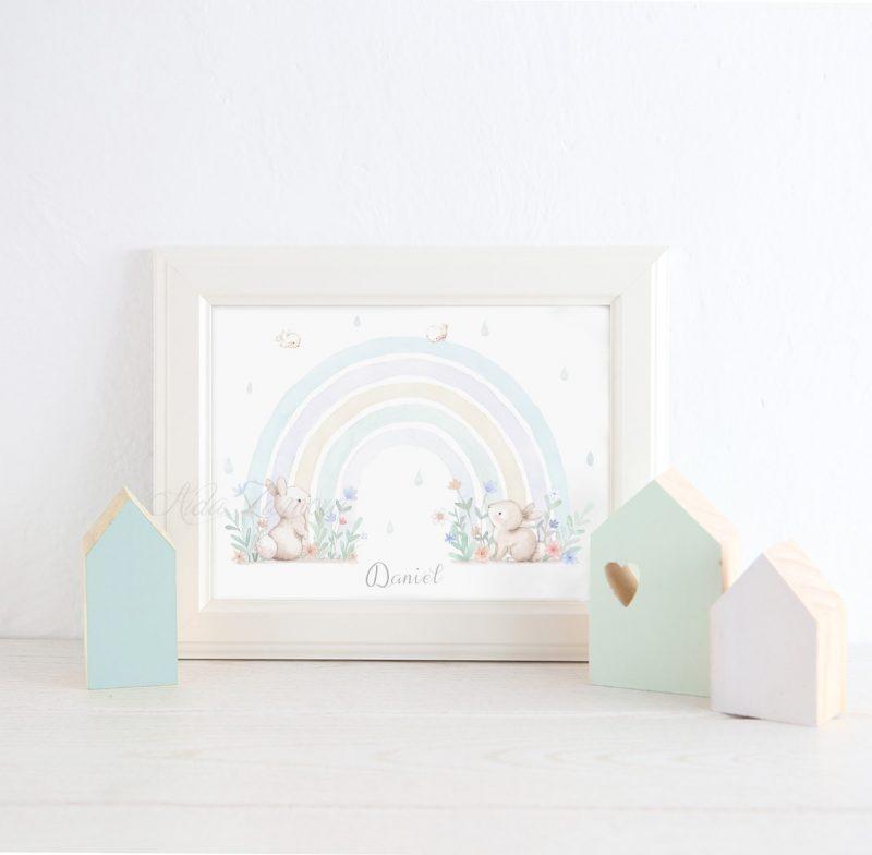 Lámina infantil Arcoíris con Conejitos 2