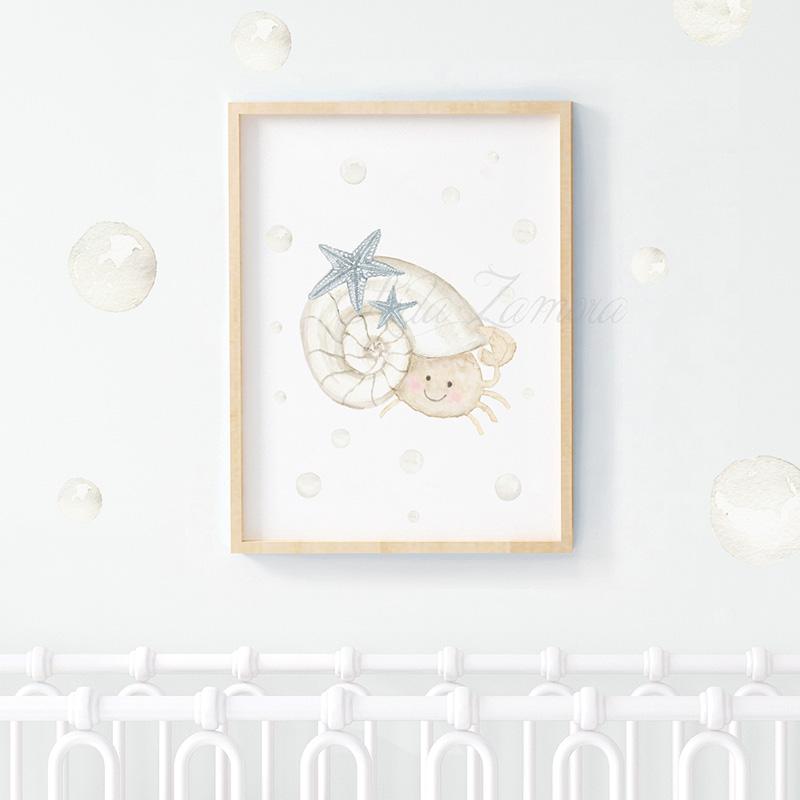 Lámina infantil Cangrejo niño 2 con marco