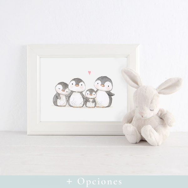 Lámina infantil Familia de Pingüinos con marco