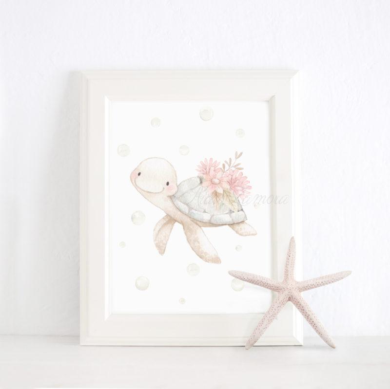 Lámina infantil Tortuga niña con marco