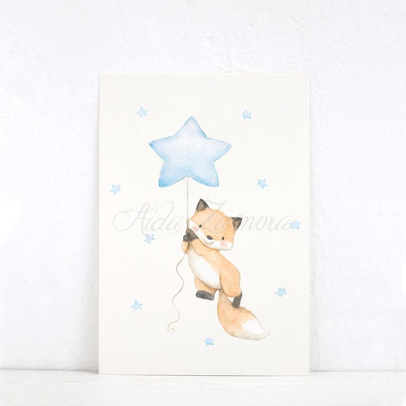 Lámina infantil Zorro con Estrella azul