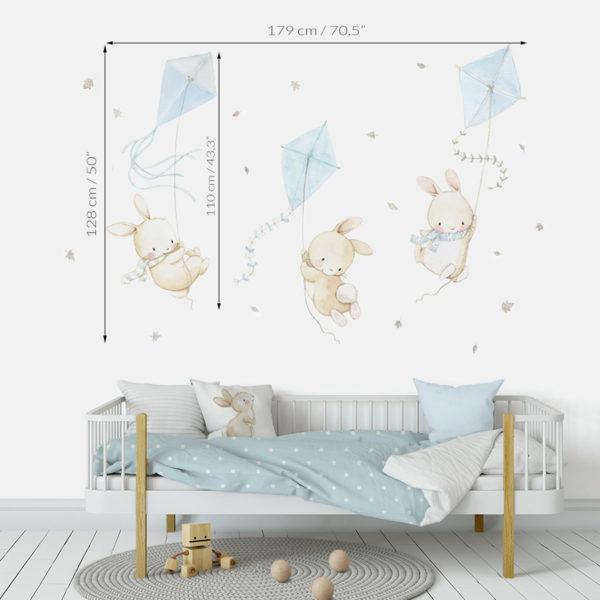 Medidas de vinilo infantil de tela Conejitos con Cometas