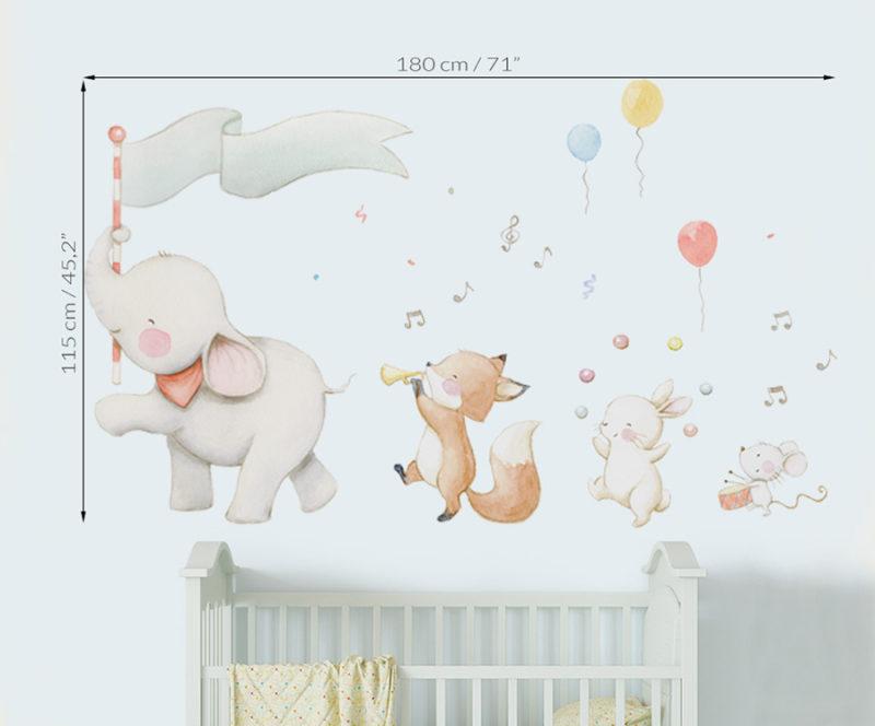 Medidas de vinilo infantil de tela banda de musica con elefante