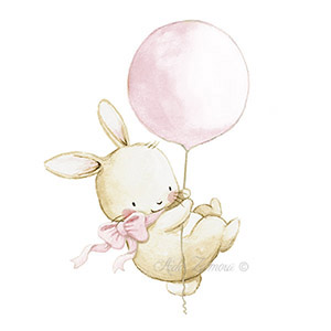 Nursery illustration ballon pink bunny