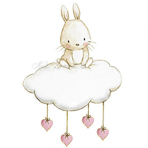 Nursery illustration bunny cloud