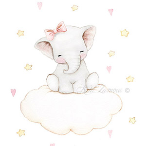 Nursery illustration elephant cloud