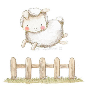 Nursery illustration sheep dreams