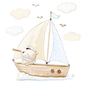 Nursery print baby bear on boat