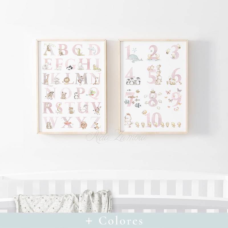 Set de dos láminas infantiles Abecedario y Números