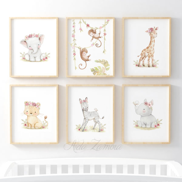 Set de seis láminas infantiles Amigos de la Jungla con flores