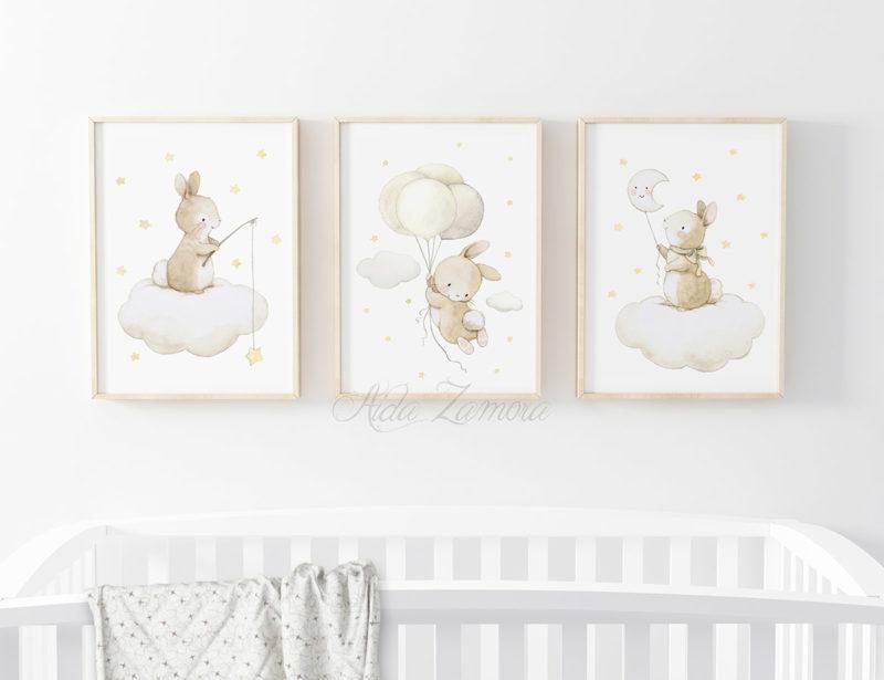 Set de tres láminas infantiles Conejitos Adorables Amarillo