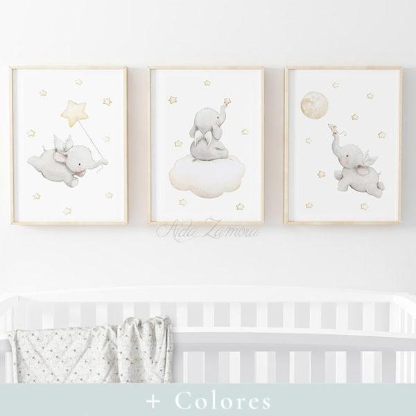 Set de tres láminas infantiles Elefantes con Alas