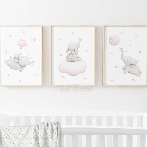Set de tres láminas infantiles Elefantes con Alas Rosa