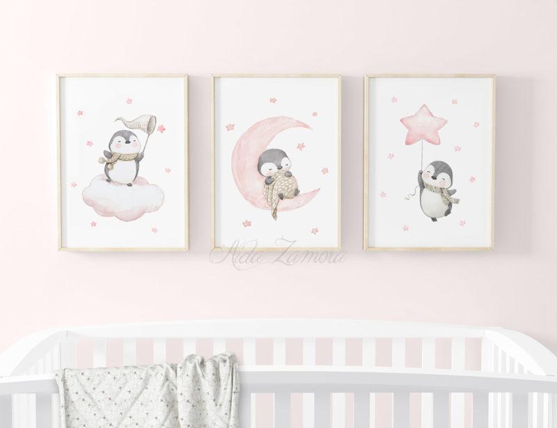 Set de tres láminas infantiles Pingüinos en las Nubes Rosa
