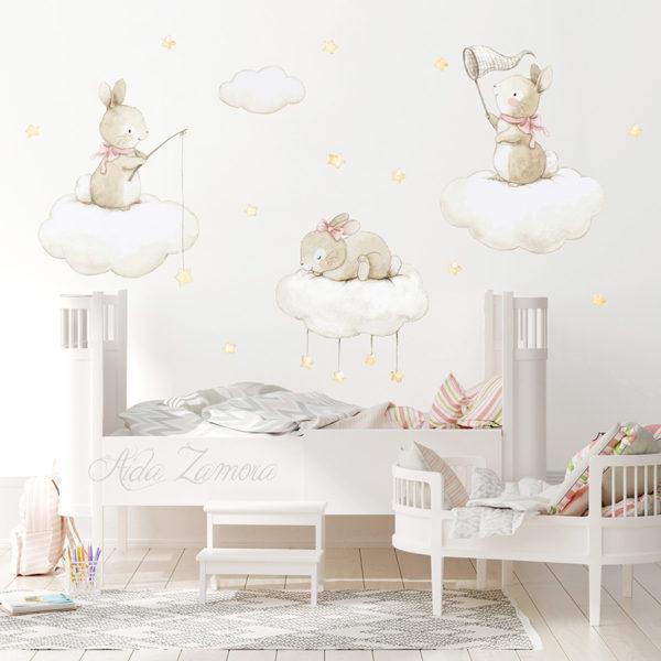 Vinilo infantil de tela Conejos Pescando Estrellas 2