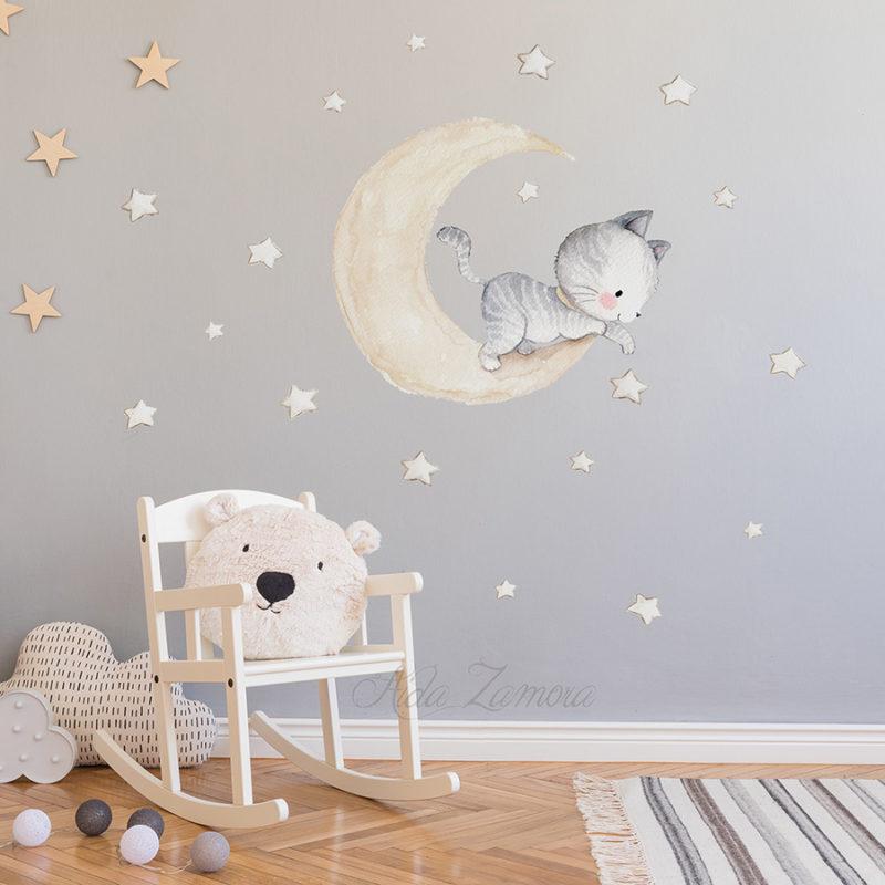 Vinilo infantil de tela Gatito en la Luna beige