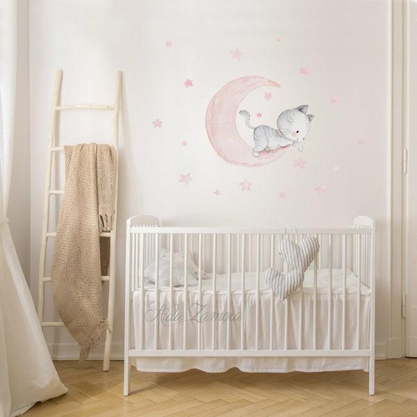 Vinilo infantil de tela Gatito en la Luna rosa