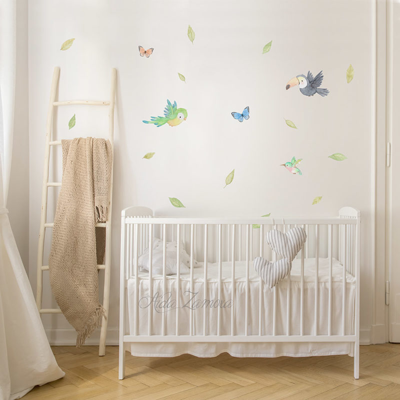 Vinilo infantil de tela Pájaros Jungla 5