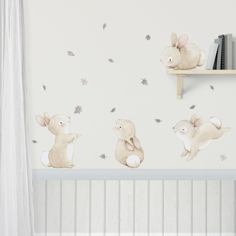 Bunnies with Leaves fabric wall decal