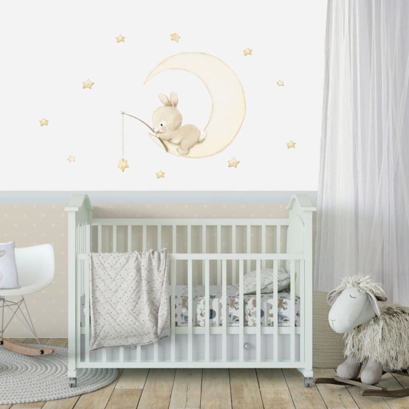 Bunny and Moon fabric wall decal