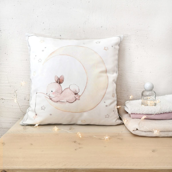 Bunny on the Moon nursery pillow