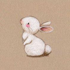 Ilustracion infantil conejito blanco