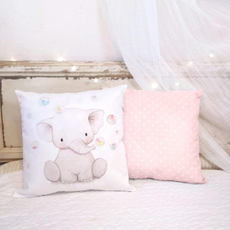 Cojín infantil Elefante rosa