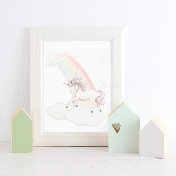 Cuadro infantil Unicornio Arcoíris