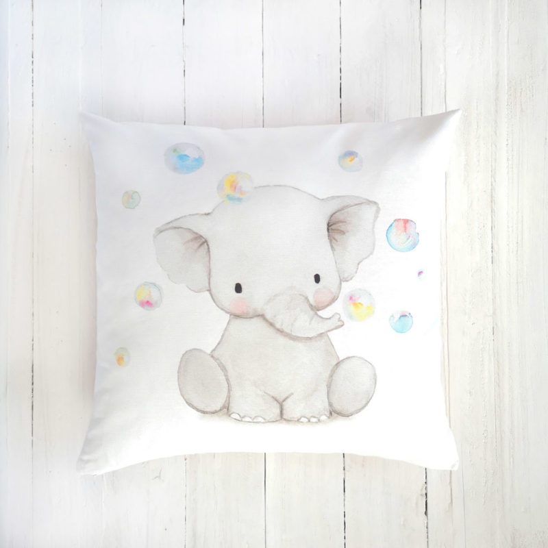Elephant nursery pillow