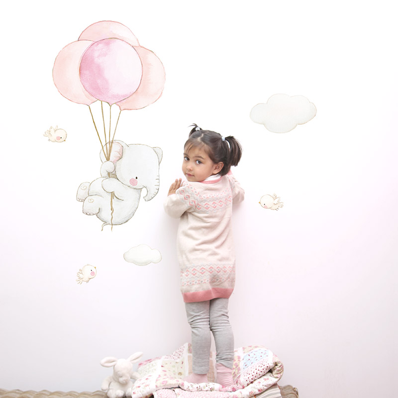 Elephant with Pink Balloons fabric wall decal
