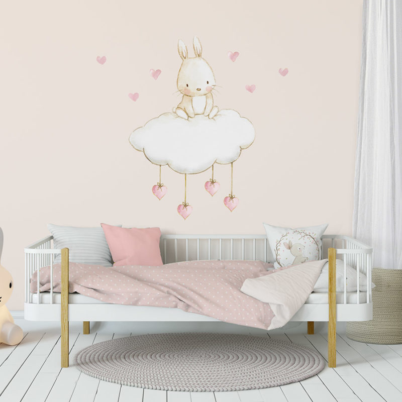 Bunny with Hearts fabric wall decal