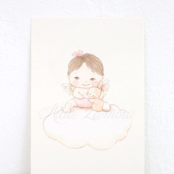 Lámina infantil Angel de la Guarda niña