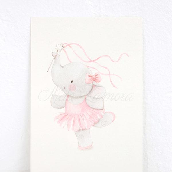 Lámina infantil Elefantita Bailarina Cintas
