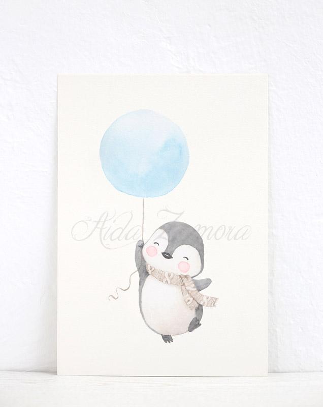 Lámina infantil Pingüino con Globo Azul
