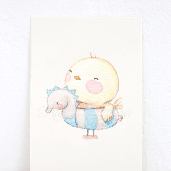 Lámina infantil Pollito con Flotador Azul