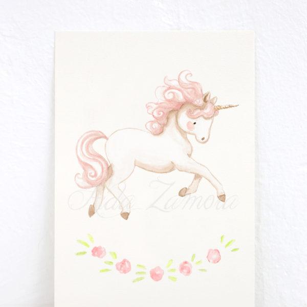 Lámina infantil Unicornio Rosa